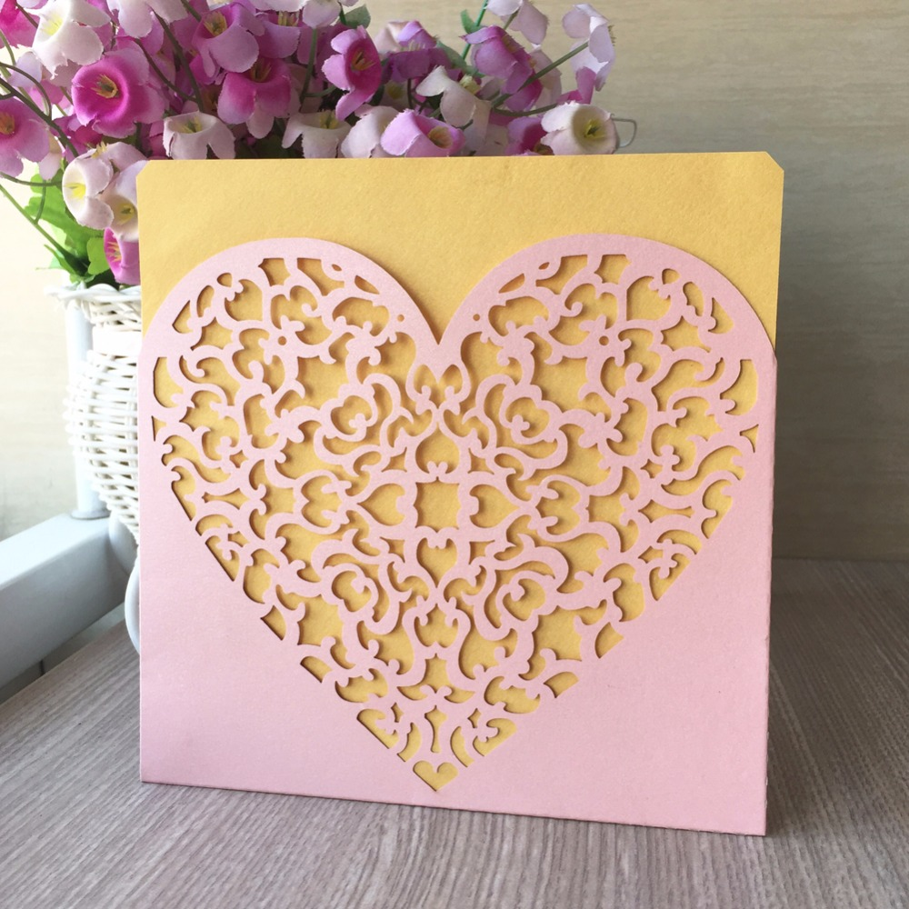 Us 23 5 50pcs Creative Hollow Laser Cut Heart Design Business Party Birthday Invitations Card Decoration Romantic Wedding Supplie In Cards