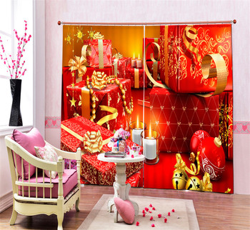 Christmas red decorations 3D Blackout Window Curtains For Living room Bedding room Office Curtain Drapes Cortinas para sala
