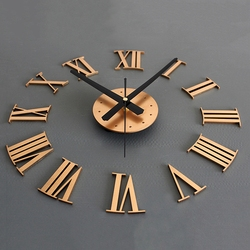 SZS Hot DIY Luxury 3D Roman numerals Wall Clock Large Size Home Decoration Art Clock HOT (color:gold)