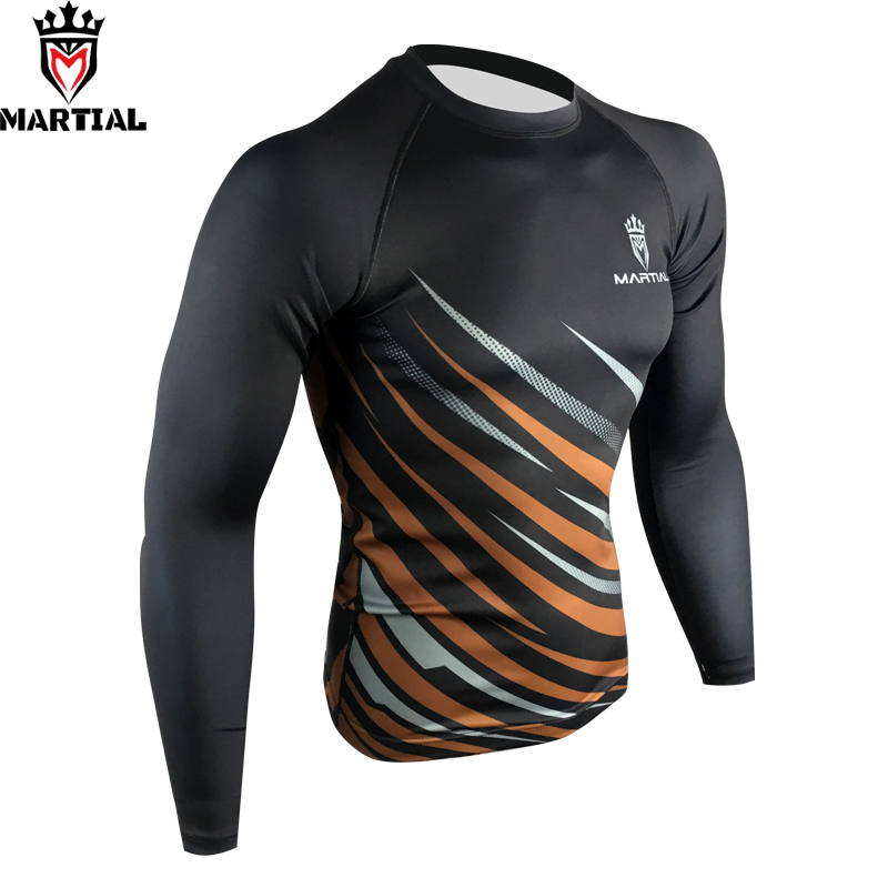 Martial : 2019 NEW ARRIVAL BROWN LONG SLEEVE BROWN  COMPRESSION SHIRTS PRINTED RASH GUARD
