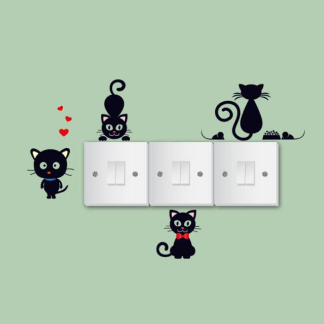 DIY Funny Creative cartoon cat Wall Sticker accessories Toilet Bathroom Decorative Decals Decor Poster Mural Art