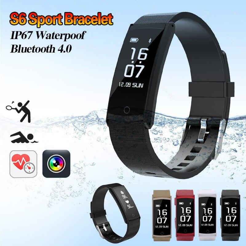 Newest S6 Smart Bracelet Sport Pedometer Fitness Tracker Sleep Monitor Wristband IP68 Waterproof Smartband For IOS