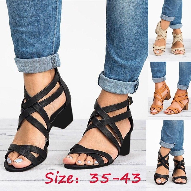 Womens Zipper High Heel Ankle Strap Gladiator Ladies Rome Shoes Summer Large Size Cross Strap Sandals Retro SandalWomens Zipper High Heel Ankle Strap Gladiator Ladies Rome Shoes Summer Large Size Cross Strap Sandals Retro Sandal