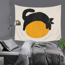 Tapiz de gato para colgar en la pared de poliéster, sección delgada, tapiz de animales de oveja León, manta decorativa para sala de estar y dormitorio