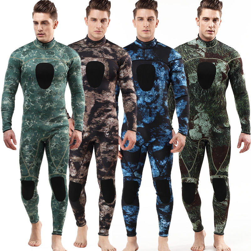 Mens womens spearfishing 3mm wetsuits Camouflage neoprene one piece scuba free diving suits with chest pad diving suitMens womens spearfishing 3mm wetsuits Camouflage neoprene one piece scuba free diving suits with chest pad diving suit