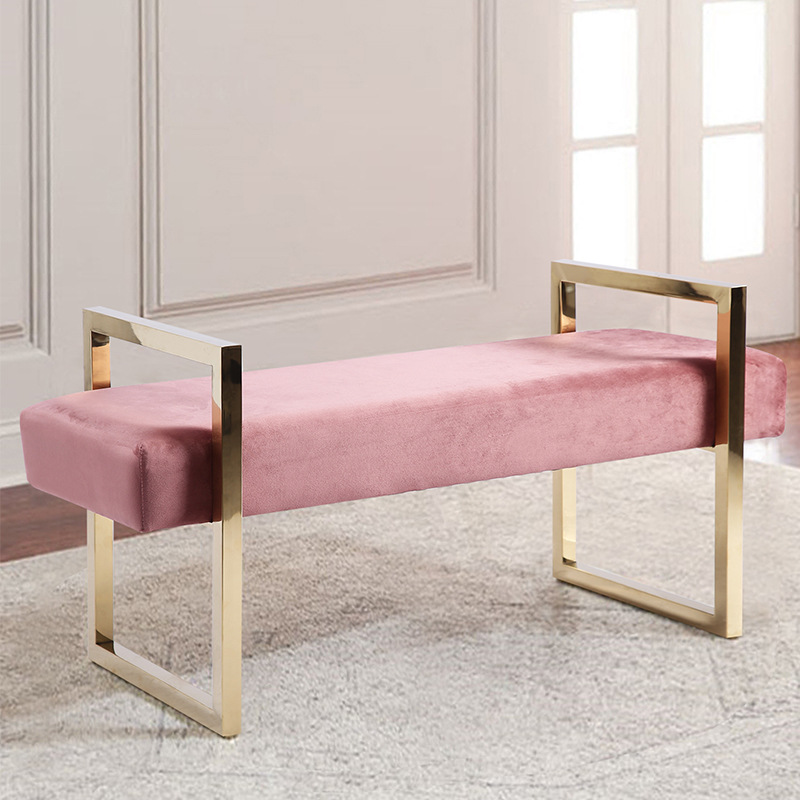Free Pink Golden Iron Metal Velvet Royals Bed Ottoman Bench Shoe Stool Cripple Sofa Footrest Footstool Chair Dressing Room Porch