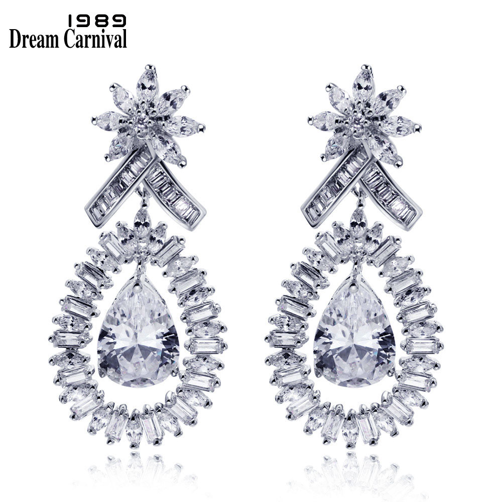 DreamCarnival 1989 Big Cluster Design Water Drop Luxury Look Cubic Zirconia Earrings Dangling Bridal Crystal Earrings