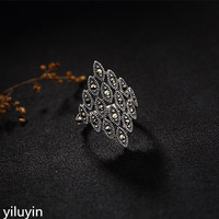 KJJEAXCMY Boutique jewelry S925 Sterling Silver Vintage mosaic mosaic, lady's high end Joker, open Diamond Silver Ring