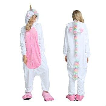 e921880d8b2e5 2019 зима унисекс Пижама для взрослых Единорог пижамы, мультяшное Белье для  сна фланелевая Домашняя одежда с капюшоном пижамные наборы с живо.
