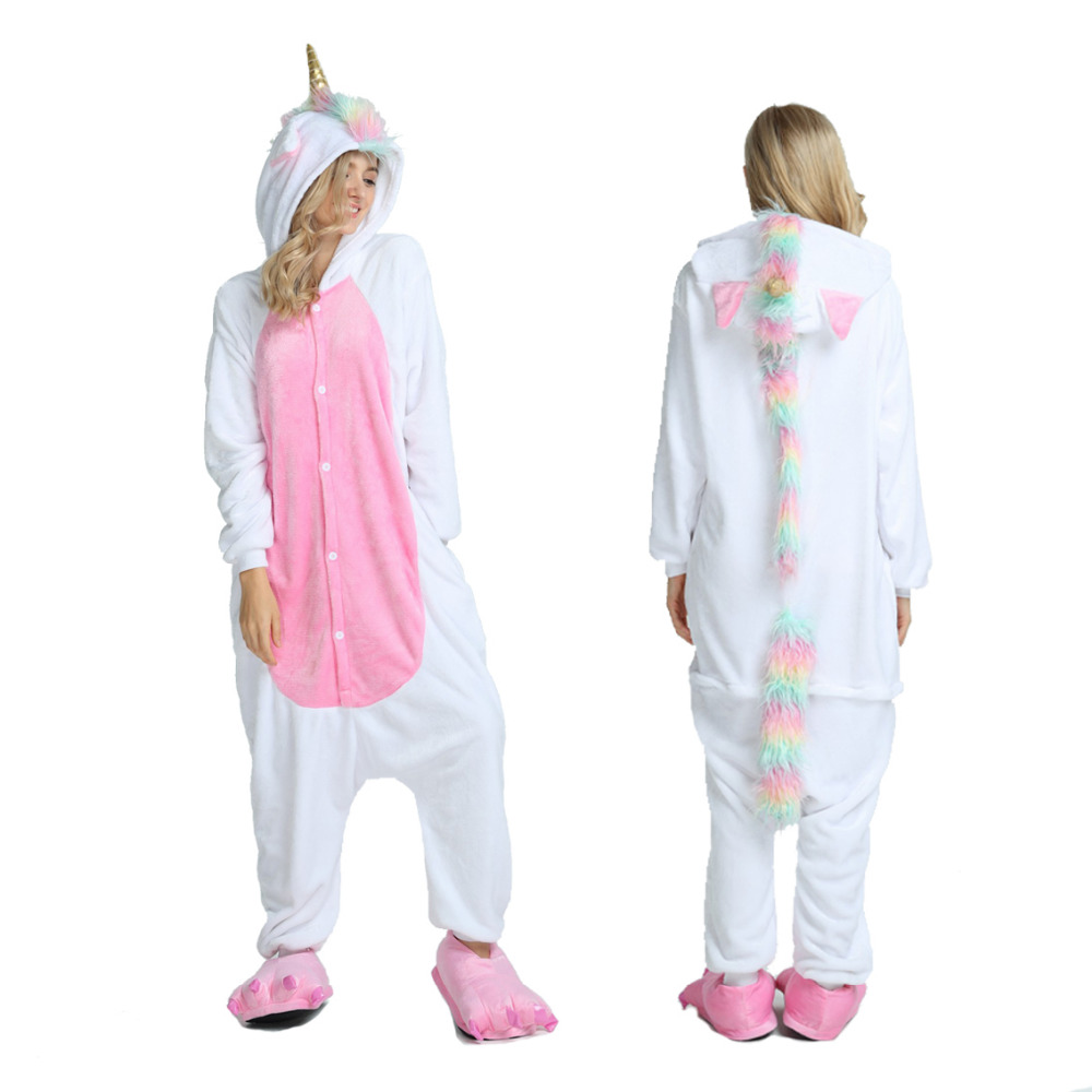 2019 Winter Adult Pyjama Men Unicorn Kigurumi Pajamas Women Cartoon Sleepwear Flannel Pijama Homewear Animal Pajama Sets