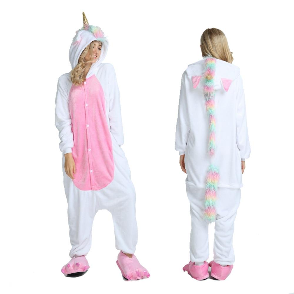 2019 Winter Adult Pyjama Men Unicorn Kigurumi Pajamas Women Cartoon Sleepwear Flannel Pijama Homewear Animal Pajama Sets
