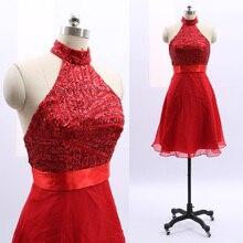 e13bc92d7 MACloth rojo corto Halter de la rodilla-longitud corta cordón tul vestidos  de baile vestido M 264789 de