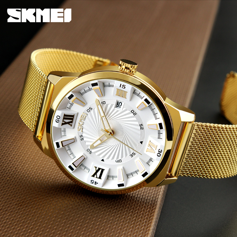 New SKMEI Luxury Brand Gold Stainless Steel Band Watch Men Business Casual Quartz Watches Dress Wristwatch Waterproof Relogio rosra brand men luxury dress gold dial full steel band business watches new fashion male casual wristwatch free shipping