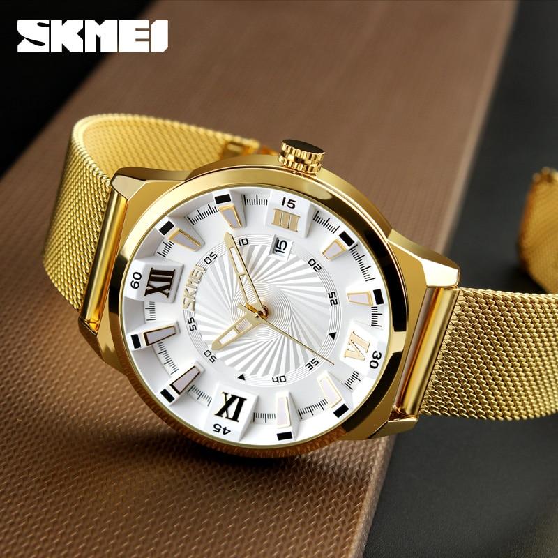 New SKMEI Luxury Brand Gold Stainless Steel Band Watch Men Business Casual Quartz Watches Dress Wristwatch Waterproof Relogio