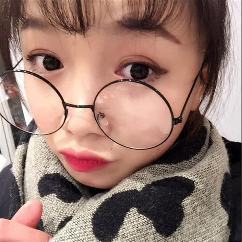 Unisex Vintage Round Reading Glasses Metal Frame Retro Personality College Style Eyeglass Clear Lens Women Eye Glasses Frames