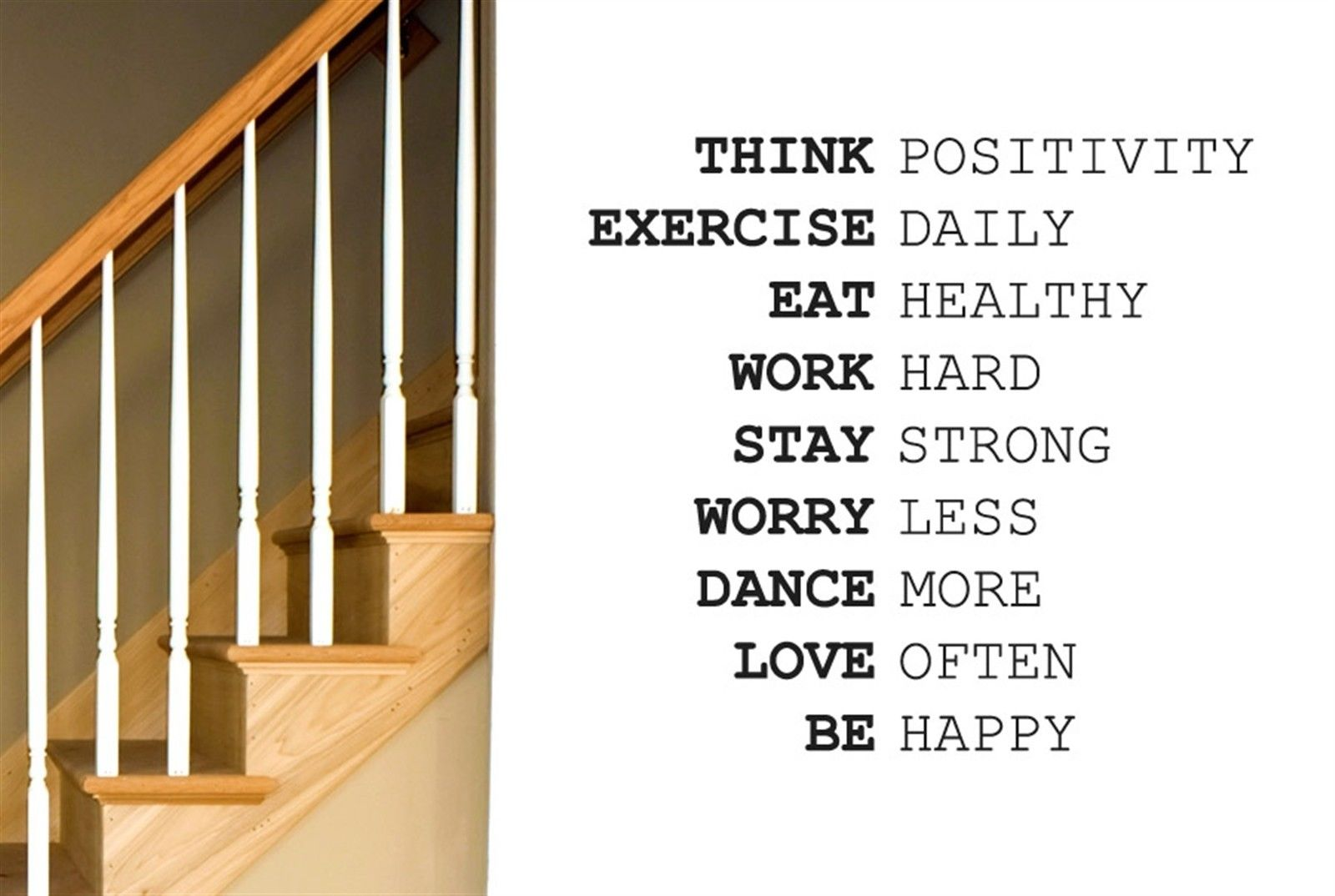 Q026 Think Positivity Exercise Daily Work Hard Wall Stiker Art Decals - Διακόσμηση σπιτιού - Φωτογραφία 3