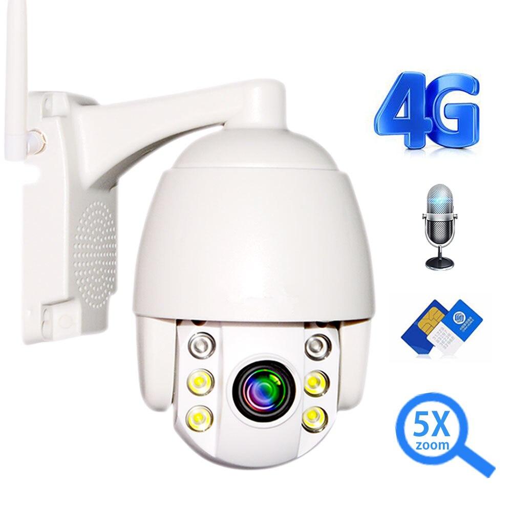 Câmera de segurança IP 3G 5X 4G Cartão SIM 1080 P HD PTZ Zoom Mini Speed Dome Ao Ar Livre Sem Fio câmera WI-FI Áudio Talk Onvif IR 60 M