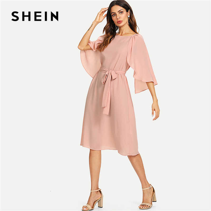 a119b786a7 SHEIN Pink Elegant Cloak Sleeve Self Belted Knot Front Round Neck Natural  Waist Knee Length Dress