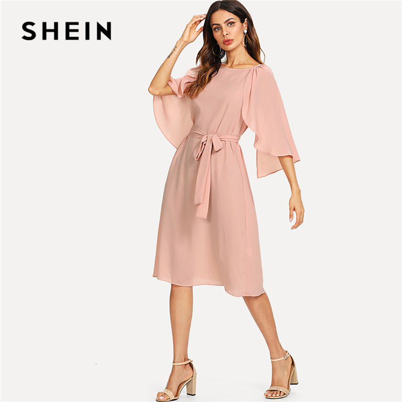 SHEIN Pink Elegant Cloak Sleeve Self Belted Knot Front Round Neck Natural Waist Knee Length Dress Summer Women Casual Dresses ...