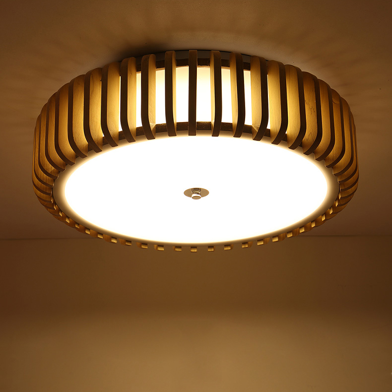 Chinese Wooden Led Drop Ceiling Lamp Creative Wood Round