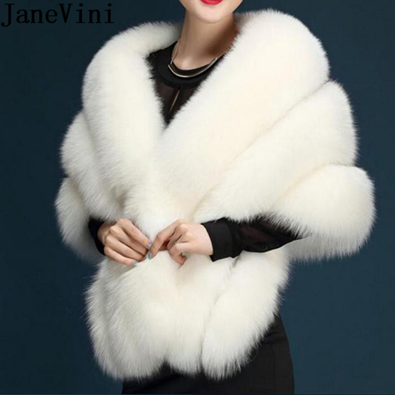 JaneVini 145*40cm Women Faux Fur Bolero Winter Wedding Wraps 2019 Bridal Capes Black White Shawl Stole Cloak Bolero Hochzeit