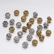 30pcs/lot 8mm Gold Silver Antique Plated Loose Spacer Bead For Jewelry Making Vintage Bracelet Beads Findings Handmade Supplies