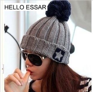 Brand Women Spring Winter Hats Beanies Knitted Cap Crochet Hat Five - pointed star knit cap Chapeu Feminino 90006