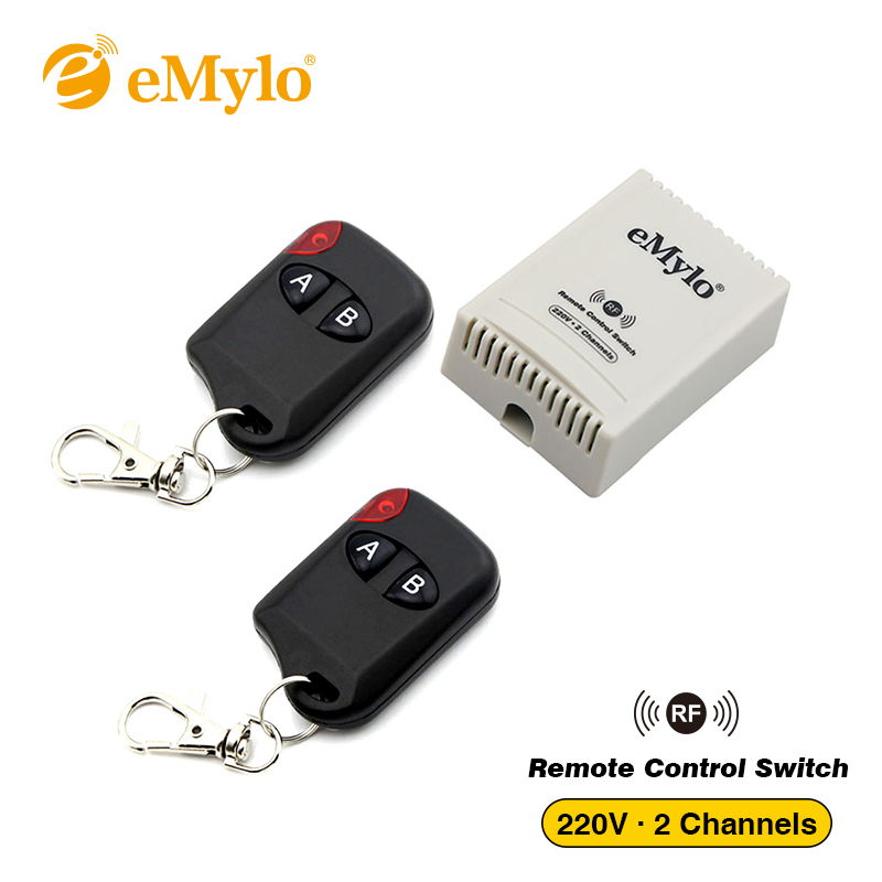 eMylo AC 220V 1000W 10A Smart Switch, Wireless 433Mhz Remote Control Light Switch 2-channels Relay With 2-buttons Transmitter brand 2 channels acoustic remote control switch box 220v 10a relay wireless remote switch app android