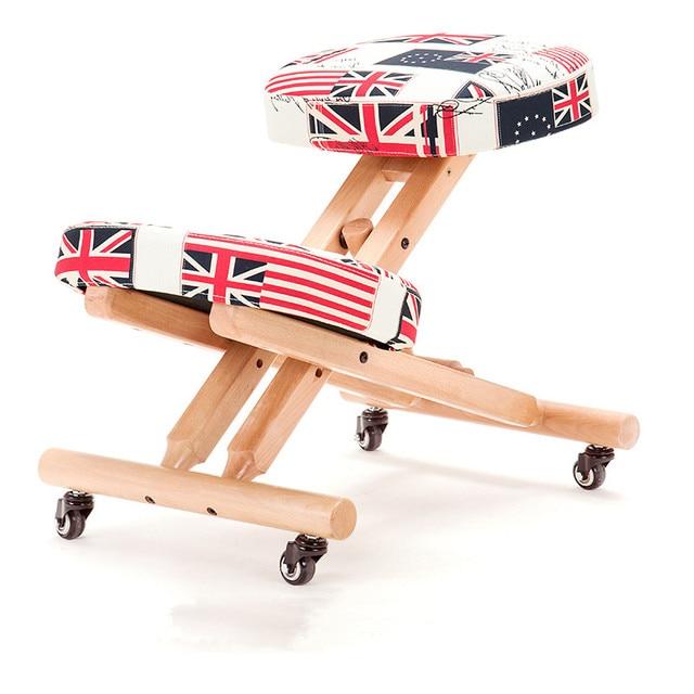 Madera silla ergonómica arrodillada con Ruedas para niños altura ...