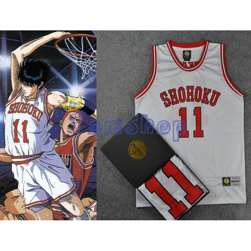 Anime SLAM DUNK Cosplay Costume Shohoku #11 Kaede Rukawa White Basketball Jersey Tops Shirt Vest Sports Wear Uniform Size M-XXL