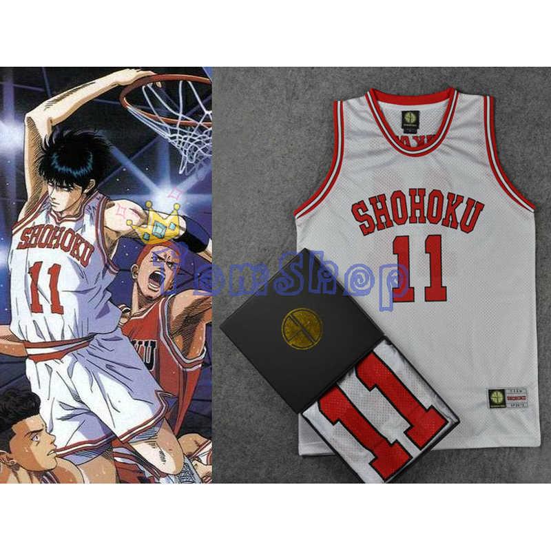 91aab1b9211 Detail Feedback Questions about Anime SLAM DUNK Cosplay Costume Shohoku #11  Kaede Rukawa White Basketball Jersey Tops Shirt Vest Sports Wear Uniform  Size M ...