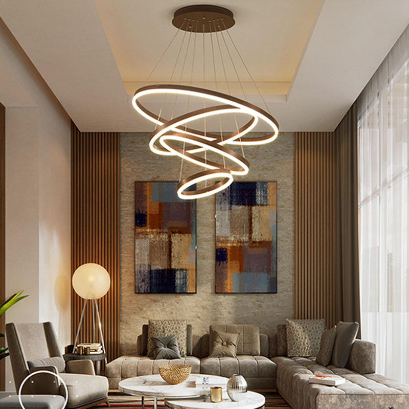 The Circular Dining Room: Brushed Coffee Circular Rings In Coffee Modern LED