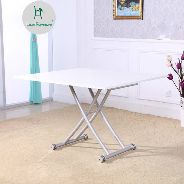 Louis Fashion Dining Table Lift And Fold Up Down Expansion Simple Double Use