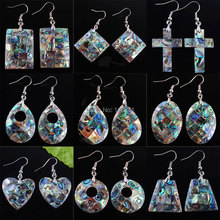 WOJIAER Free shipping New Zealand Abalone Shell Beads Dangle Earrings Pair Jewelry PBR301 free shipping new shell for samsung np 700g7a 700g7c notebook with c shell