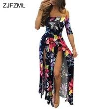 ZJFZML новая женская мода 2018 г. Элегантная Сексуальная Слэш Длинные Платья повседневные сплит печати большие размеры платье вечернее платье