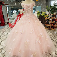 Women Pink Cheap Prom Dress Sweetheart Off Shoulder Lace Up Back Evening Dress With Flowers For