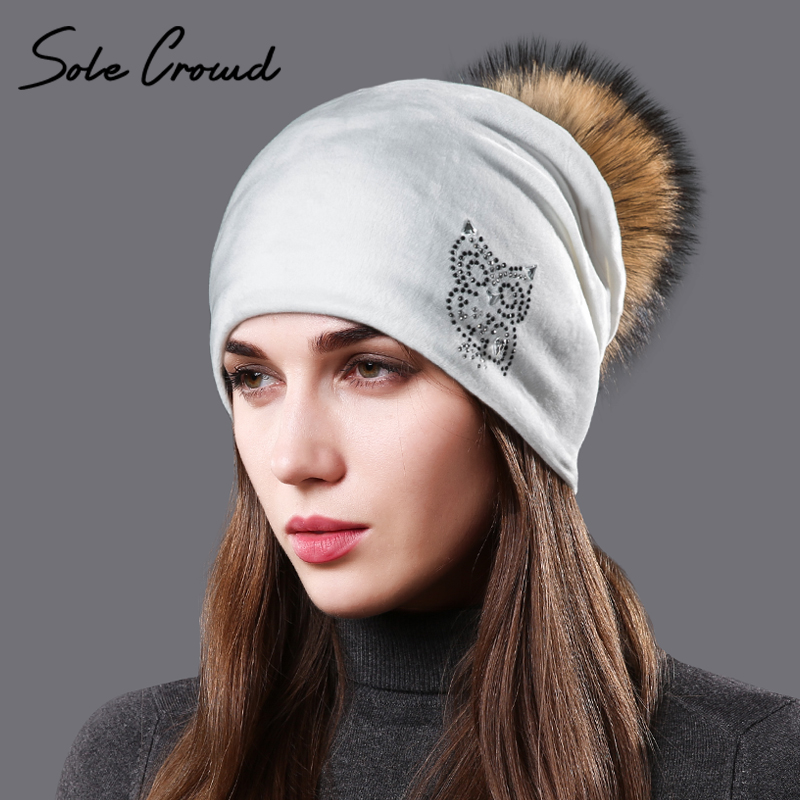 Sole Crowd 2017 winter warm owl pattern hats for Women's with natural raccoon fur pompom female caps   skullies     beanies   velvet hat