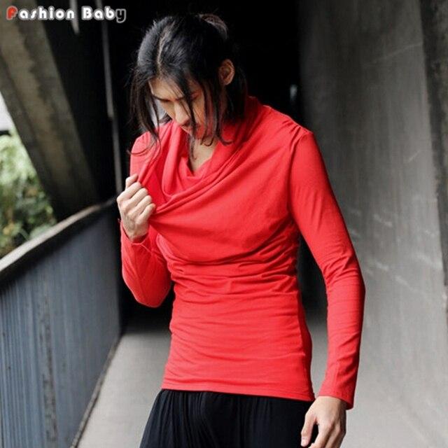 Brand New Men's Fashion Long Sleeve Autumn/Winter T-shirt Heap Turtleneck Cotton Designer Red Tee Shirt Costume Casual T-shirt