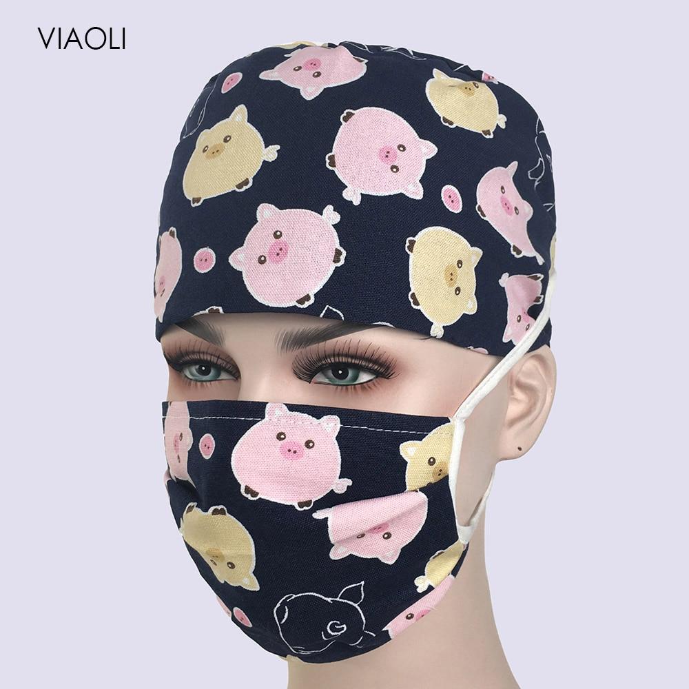 Wholesale Cotton Print Adjustable Pet Hospital Work Hats Surgical Caps Women Men Doctor Nurse Cap Mask Beauty Pharmacy Hats