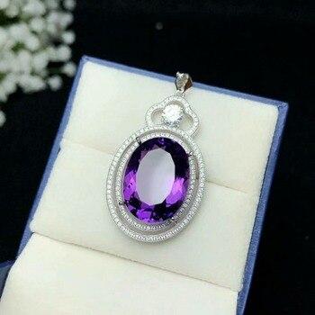 SHILOVEM 925 silver Piezoelectricity Amethyst pendants send necklace classic wholesale Fine women new gift 12*16mm bz121602agz