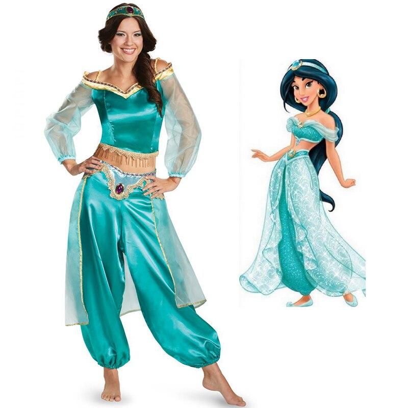 Halloween Aladdin magic lamp Aladin Jasmine Princess Cosplay Costumes Adult Carnival Party Princess Jasmine Masquerad Costumes