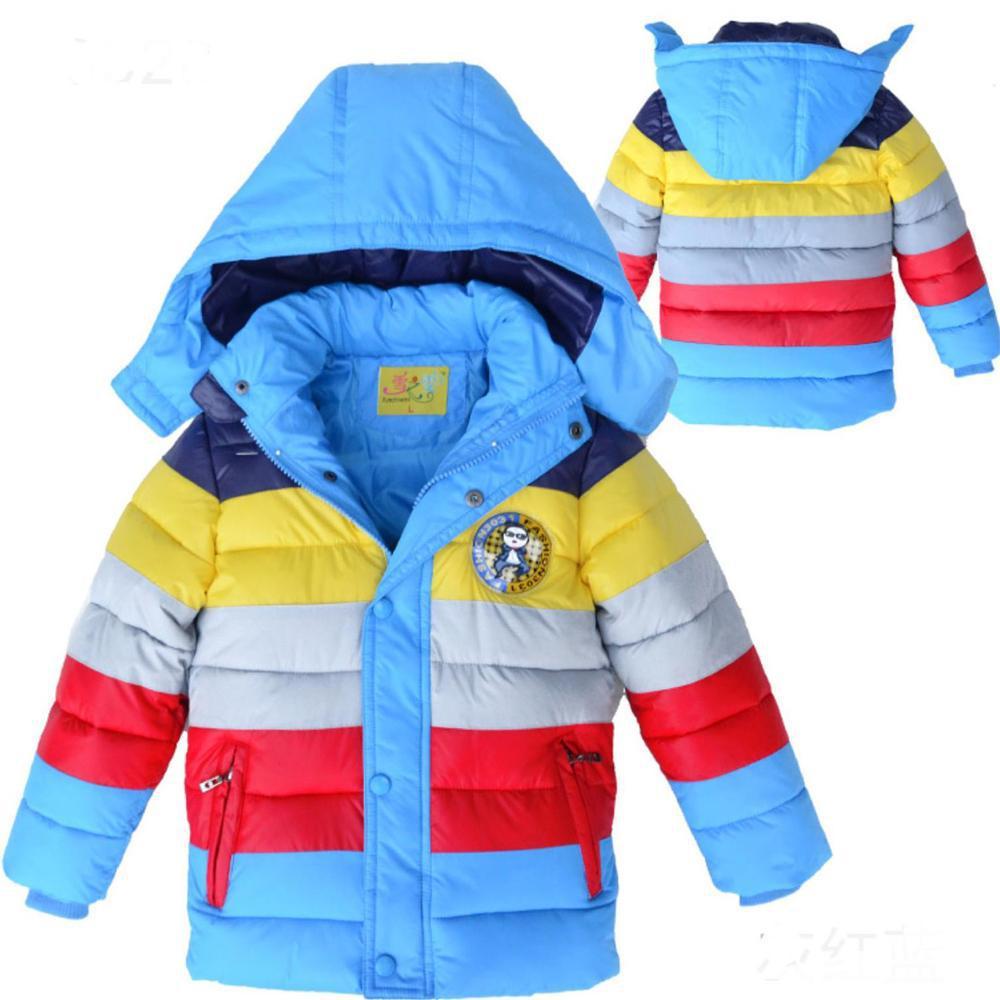 Розничная продажа 2017 Новинка; зимняя одежда для детей; куртки цветная стеганая куртка в полоску для мальчиков; на хлопковой подкладке, на ут...
