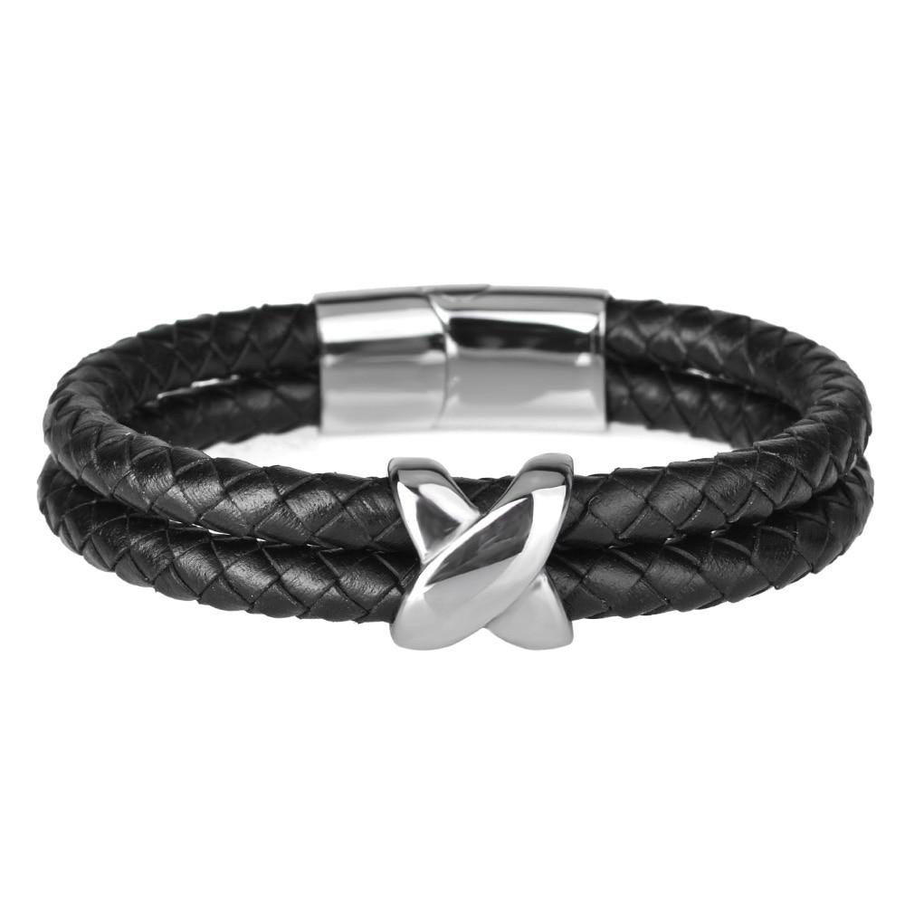 Kirykle style minimaliste croix acier inoxydable Bracelets bijoux religieux aimant fermoir multicouche tressé bracelet en cuir