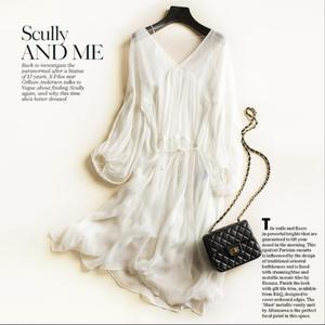Image 3 - Women Dress 100%Real Silk A Line Round Collar Long Dress 2020 Summer Elegant Silk Dress Vestidos