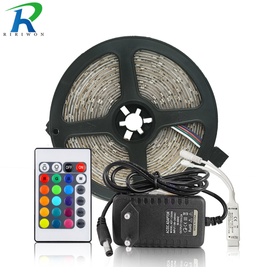 5M 10M RGB Led Strip Light 2835 Led Ribbon DC 12V Non Waterproof RGB Led Tape With ir 24 Key Remote And Power Adapter Kit IP65 10m 5m 3528 5050 rgb led strip light non waterproof led light 10m flexible rgb diode led tape set remote control power adapter