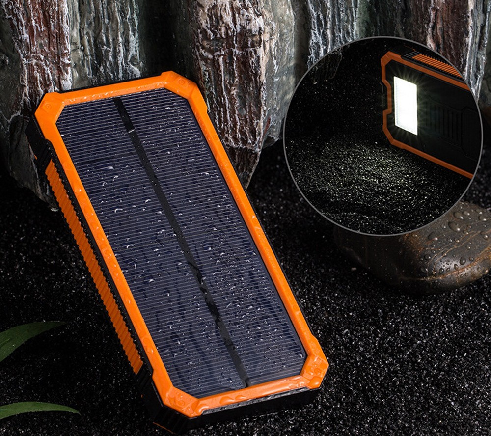 Solar alternative battery phone dual USB replacement battery phone 20000mAh waterproof power solar panel with LED