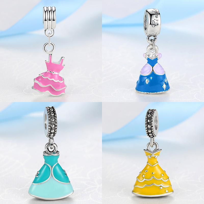 Silver Beads Charms 2 Color European Lovely Princess Dress Pendant Fit Women Diy Pandora Bracelets & Bangles Jewelry yw15777