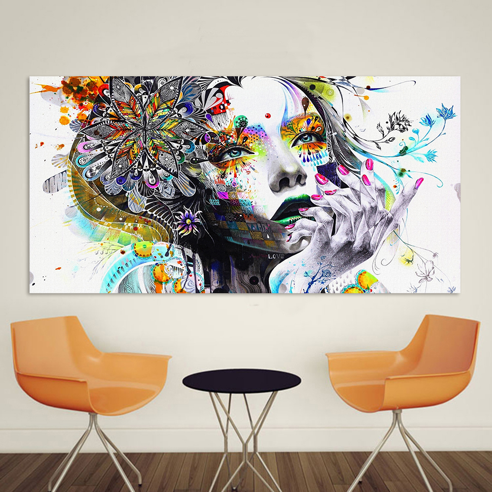 Modern Canvas Art Girl With FLowers Wall Pictures For Living Room Modular Pictures Home Decor Frameless in Painting Calligraphy from Home Garden