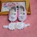free-shipping 2015 brand newborn baby infant girls,Shoes Baby Headband set flowers baby shoes for 1 year old girl