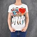 2016 top de venda das mulheres mangas curtas t camisas cinco apliques flores dos desenhos animados imprimir chemise moda t camisa camiseta feminina